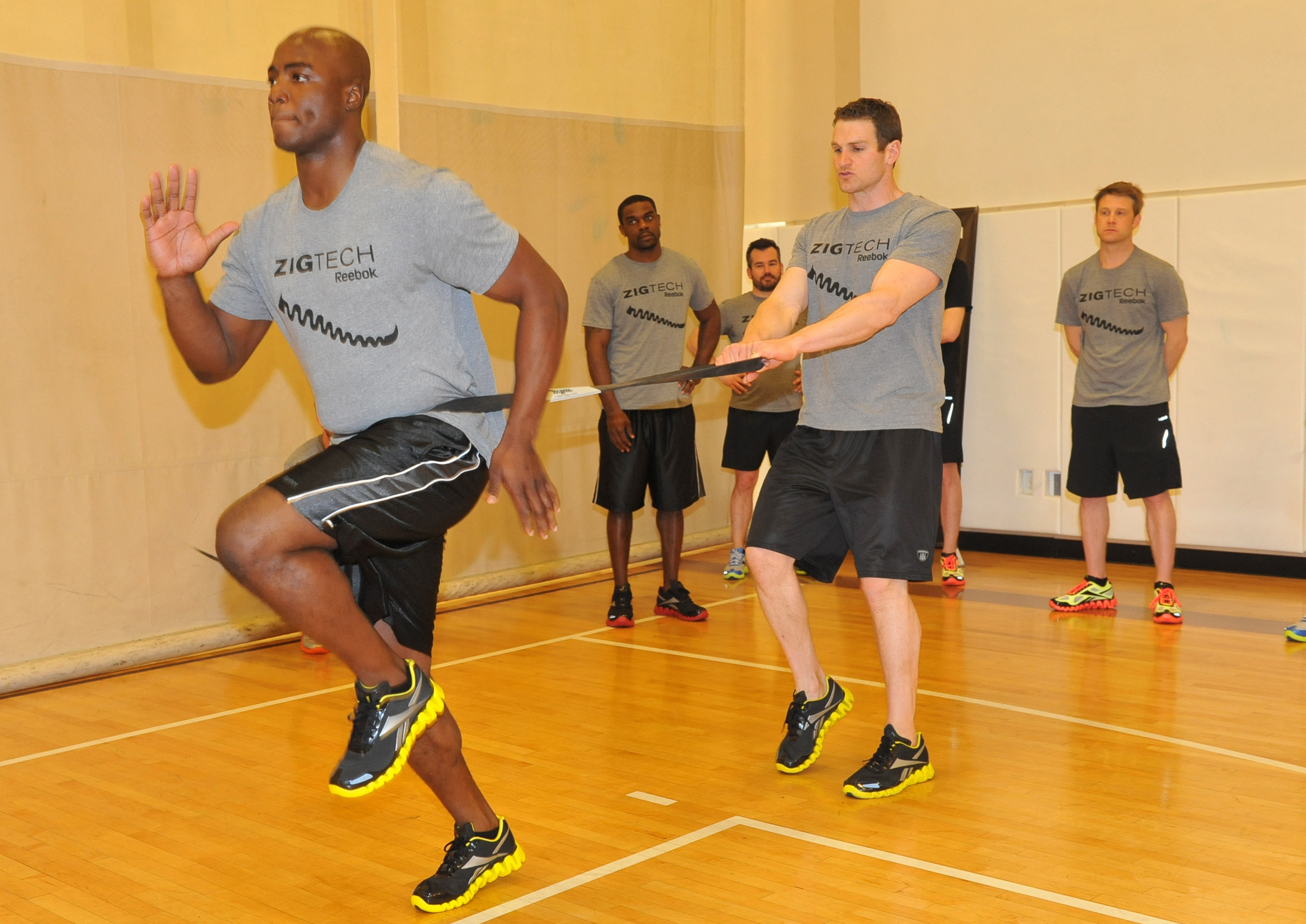 Ware does resistance band exercises like this to work on his coordination and stabilizer muscles.